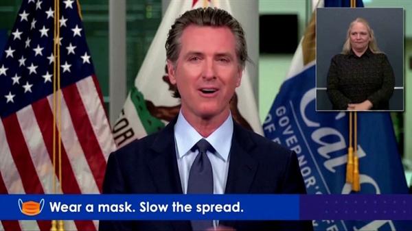 Thống đốc bang California Gavin Newsom tuyên bố tái áp đặt các biện pháp đóng cửa (Nguồn: Reuters)