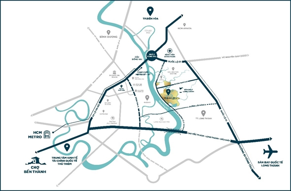 Dự án Aqua City mang lợi thế lớn về vị trí khi tọa lạc ngay tại tâm điểm kết nối giao thông liên vùng