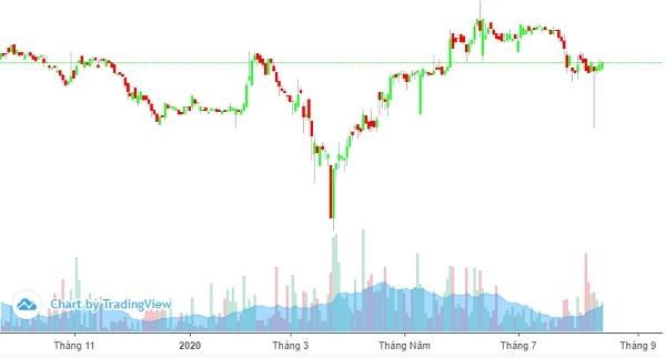 Diễn biến giá cổ phiếu VTP từ đầu năm 2020 đến nay. Ảnh: FireAnt.