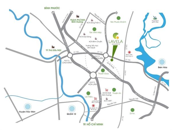 Các hướng kết nối từ khu vực dự án Lavela Garden, Bình Chuẩn, Thành phố Thuận An