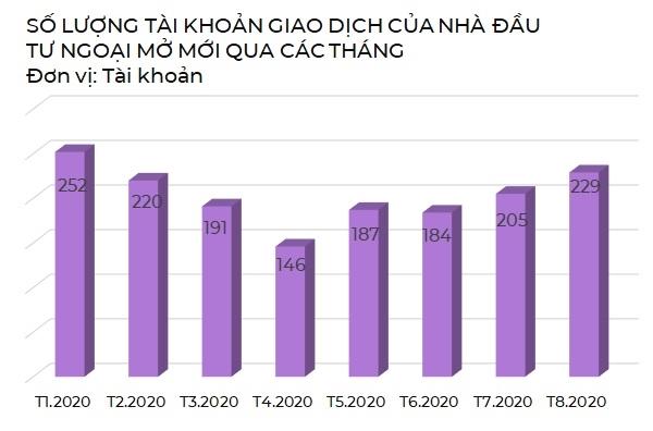 Số lượng tài khoản giao dịch của nhà đầu tư ngoại mở mới qua các tháng. Nguồn: VDS, VH.