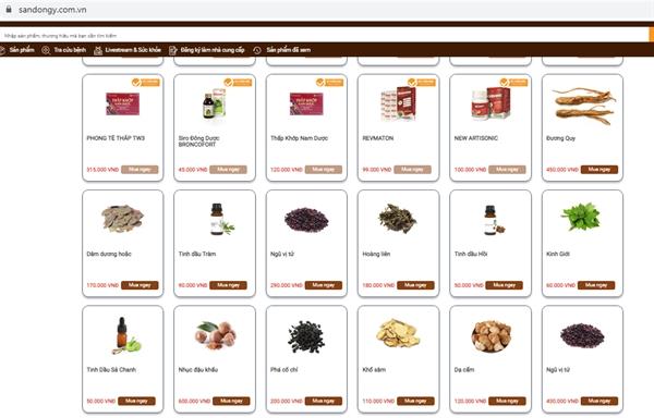 Giao diện mua sắm sản phẩm trên sandongy.com.vn.