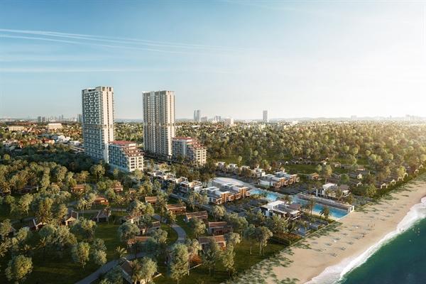 Phối cảnh dự án Aria Đà Nẵng Hotel & Resort với 140m mặt tiền bãi biển tuyệt mỹ.