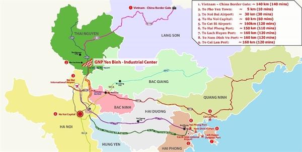 Trung tâm Công nghiệp GNP Yên Bình sở hữu vị trí địa lý lý tưởng với nhiều thuận lợi về giao thông vận tải