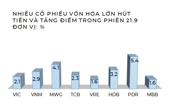 Diễn biến của các cổ phiếu vốn hóa lớn nổi bật. Nguồn: NCĐT Tổng hợp.