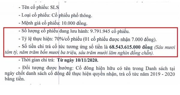 Hội đồng Quản trị Mía Đường Sơn La đã thông qua việc chi trả cổ tức năm 2019-2020 với tỉ lệ 70% tiền mặt.