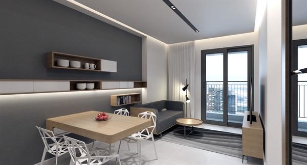 Với 3 gam màu chủ đạo xám - trắng - gỗ mang lại vẻ đẹp sang trọng căn hộ.