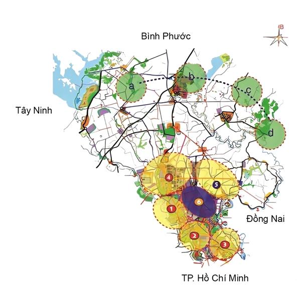 Điểm đến của nhà đầu tư là trung tâm thành phố thông minh (6), kết nối thuận tiện tới Thủ Dầu Một (1), Thuận An (2), Dĩ An (3), Bến Cát (4), Tân Uyên (5).