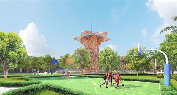 Đài quan sát cao 16m với tầm nhìn 360 độ tại Sky Park mở ra tầm nhìn trải khắp khu đô thị Gem Sky World
