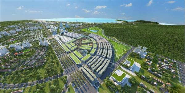 Phối cảnh tổng thể của khu đô thị Kỳ Co Gateway với vị trí trung tâm khu kinh tế Nhơn Hội.