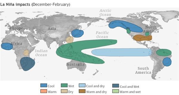 Ảnh hưởng của nhiệt độ và lượng mưa vào mùa đông điển hình (tháng 12 - tháng 2) từ La Niña. Nguồn ảnh: Climate.gov.