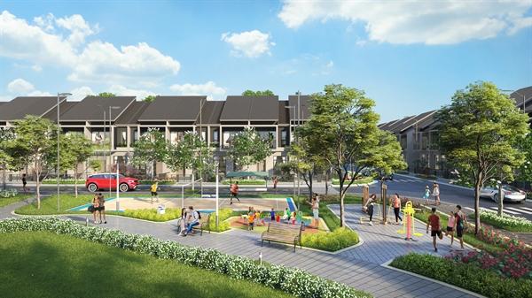 Một góc công viên nội khu Topaz Town rộng gần 2.000 m2.