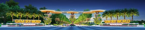 Cổng chào vào khu đô thị Gem Sky World là một trong những hạng mục quan trọng được chủ đầu tư cam kết hoàn thiện nhanh chóng.