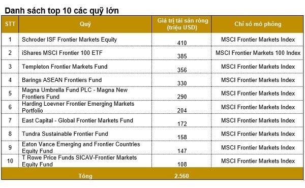 Top 10 các quỹ lớn nhất tại thị trường Việt Nam. Nguồn: PDR.