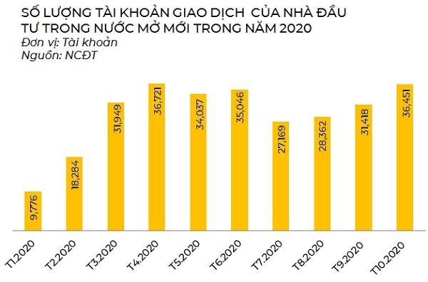 Số lượng tài khoản giao dịch của nhà đầu tư trong nước mở mới qua các tháng của năm 2020. Nguồn: NCĐT tổng hợp.