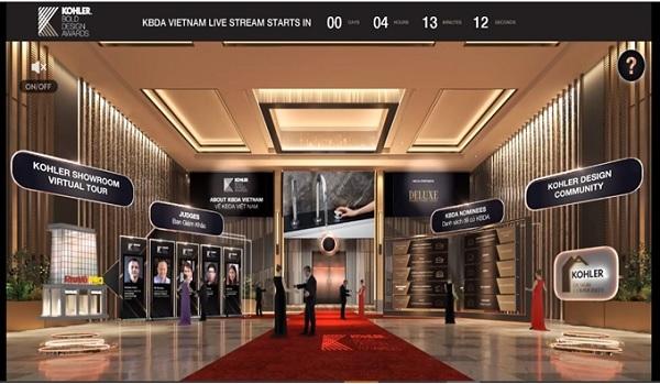 Trải nghiệm sảnh đón tiếp ảo Lễ Trao Giải Trực Tuyến KOHLER Bold Design Awards Việt Nam.