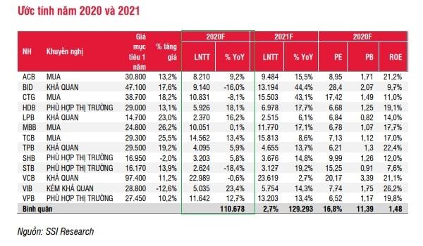 SSI Research ước tính lợi nhuận của các ngân hàng năm 2020.