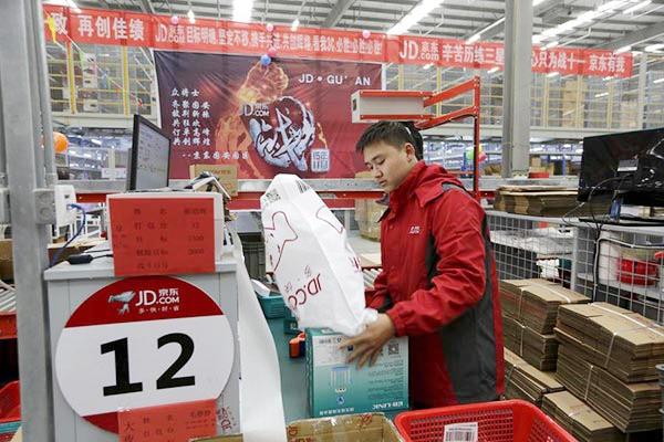 Trung tâm hậu cần JD.com ở Hà Bắc, Trung Quốc. Ảnh: China Daily.
