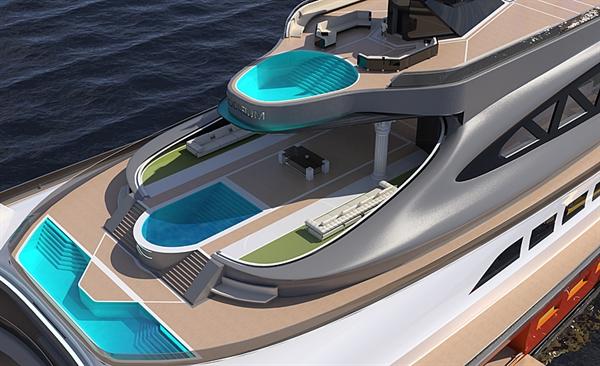Du thuyền sở hữu 3 hồ bơi sang trọng. Ảnh: Lazzarini Design Studio.