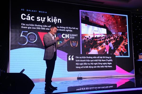 Ông Trần Trọng Tú, Giám đốc điều hành Galaxy Media chia sẻ và gửi lời cám ơn đến quý đối tác trong sự kiện. Ảnh: Quý Hòa.