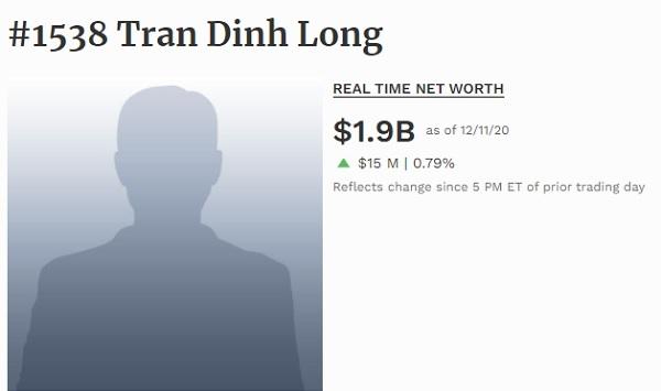 Giá trị tài sản của tỉ phú Trần Đình Long tại thời điểm 11.12 (Theo Forbes).