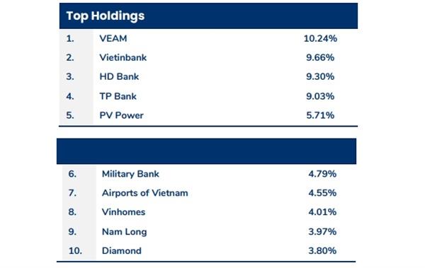 Top 10 cổ phiếu chiếm tỉ trọng cao nhất trong danh mục của PYN Elite Fund  tại thời điểm cuối tháng 11.2020.