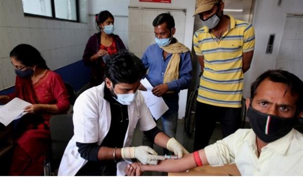 Một bác sĩ thu thập mẫu máu từ một tình nguyện viên ở Ấn Độ, trước khi anh ta tiêm vaccine COVID-19 Covaxin. Ảnh: EPA.