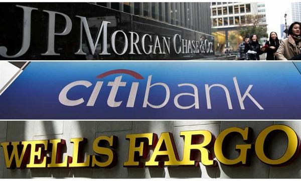 Các ngân hàng lớn nhất của Mỹ gồm JPMorgan Chase, Goldman Sachs, Bank of America, Morgan Stanley và Citigroup chỉ tạo ra dưới 37 tỉ USD tổng doanh thu từ ngân hàng đầu tư, 30% phí thu được trong năm nay. Ảnh: Reuters.
