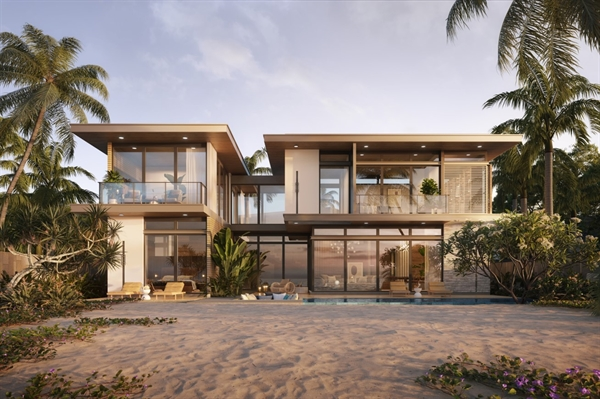 Phối cảnh biệt thự 4 phòng ngủ mặt tiền biển rộng nhất tại khu vực Hồ Tràm.