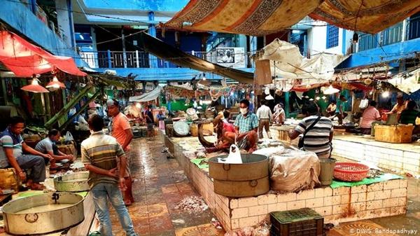 Các khu chợ ẩm ướt, như hình này ở Calcutta, Ấn Độ, là nguồn cung cấp thực phẩm chung cho nhiều người trên toàn cầu. Ảnh: Deutsche Welle.