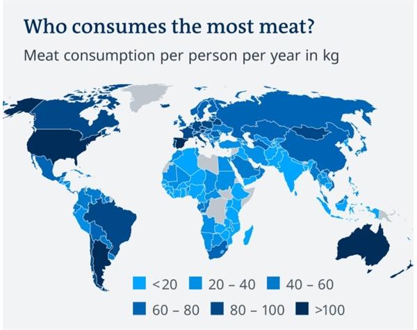 Ai tiêu thụ nhiều thịt nhất? Lượng thịt tiêu thụ của mỗi người tình trên kg mỗi năm. Ảnh: Meat Atlas 2021, OWID.