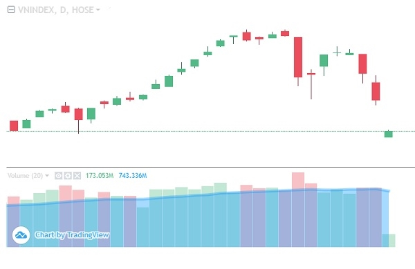Chỉ số VN-Index rơi mạnh trong 2 phiên gần đây. Phiên sáng 28.1, tiếp tục là phiên hoảng loạn của thị trường. Ảnh: VNDirect.