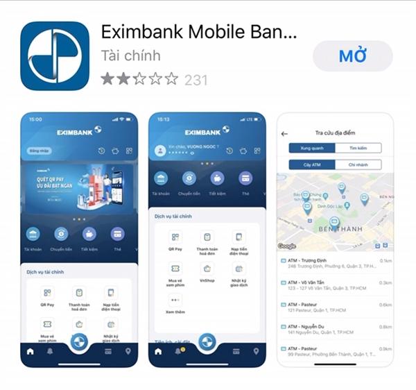 Eximbank Mobile Banking trên hệ điều hành Android, khách hàng tải ứng dụng thông qua Play Store/ CH Play