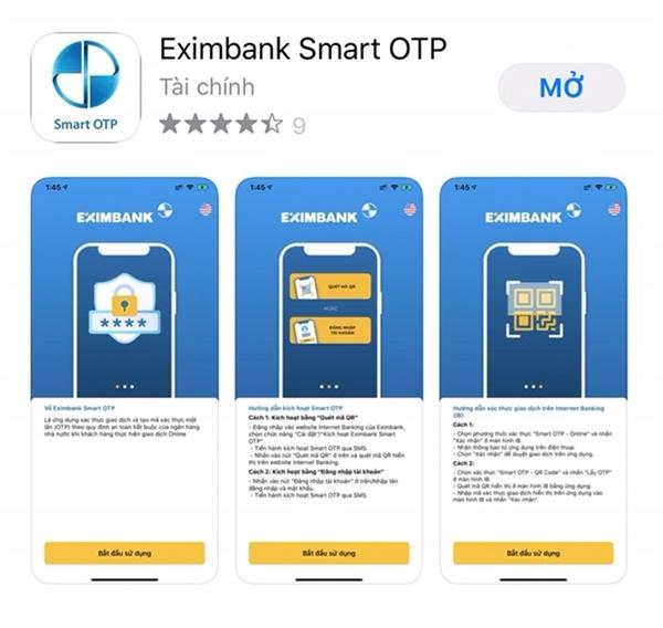 Giải pháp xác thực Eximbank Smart OTP trên hệ điều hành Android tải trên Play Store /CH Play