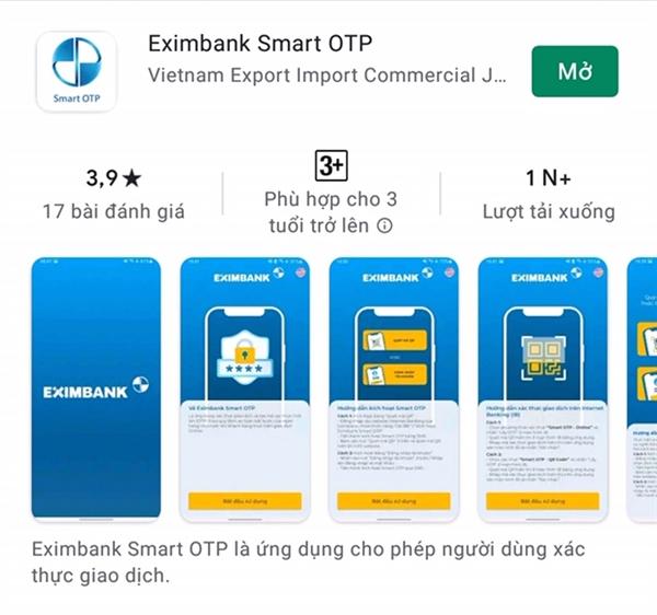Giải pháp xác thực Eximbank Smart OTP trên hệ điều hành iOS tải tại App Store