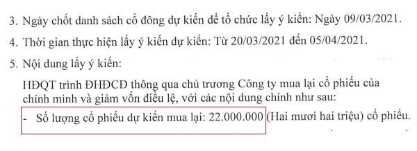 Tôn Hoa Sen dự kiến mua 22 triệu cổ phiếu quỹ. Nguồn: HSG.