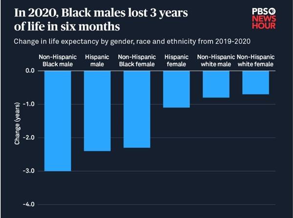 Đàn ông da đen mất 3 năm tuổi thọ trong vòng 6 tháng đầu năm 2020. Ảnh: Trung tâm Thống kê Y tế Quốc gia Mỹ.
