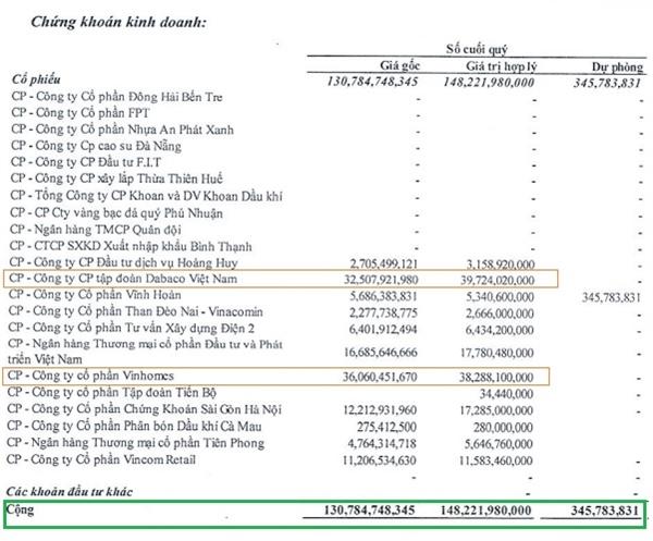Danh mục đầu tư của Nhà Đà Nẵng thời điểm cuối năm 2020. Nguồn: NDN.
