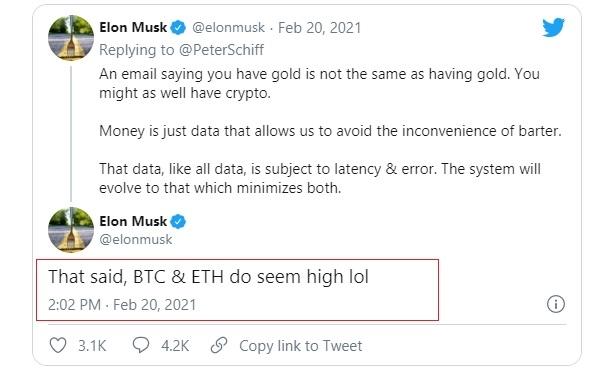 Giám đốc điều hành của Tesla, ông Elon Musk cho rằng bitcoin