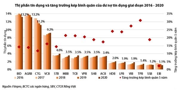 Những năm gần đây, các ngân hàng TMCP tư nhân có sự gia tăng mạnh mẽ về thị phần tín dụng.