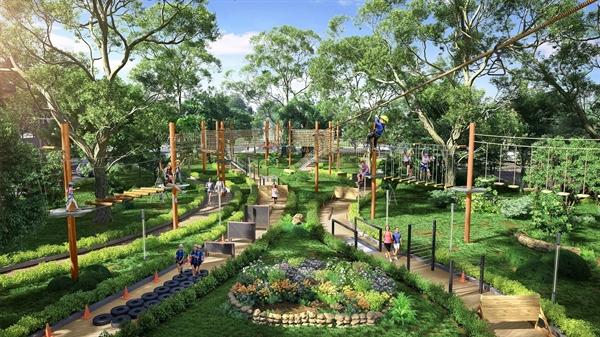 Tổ hợp trò chơi Adventure Forest nằm trong khuôn viên công viên trung tâm Gem Sky Park được đầu tư bài bản theo tiêu chuẩn quốc tế đang trong quá trình hoàn thiện để kịp khánh thành trong Quý 1 năm nay. Ảnh: TL.
