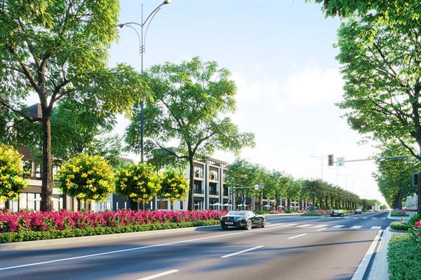 """Đại lộ """"huyết mạch"""" Goldsilk Boulevard dài 2km kết nối toàn khu đô thị Gem Sky World Long Thành sẽ chính thức khánh thành trong quý 1 năm nay. Ảnh: TL."""