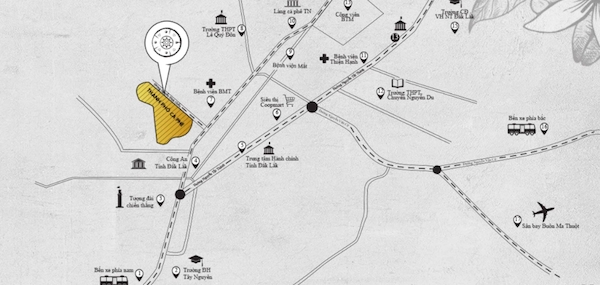 Dự án Thành phố Cà phê do Tập đoàn Trung Nguyên Legend làm chủ đầu tư, tọa lạc tại đường Nguyễn Đình Chiểu nối dài, phường Tân Lợi, TP Buôn Ma Thuột, tỉnh Đắk Lắk. (Ảnh: thanhphocaphe.com)