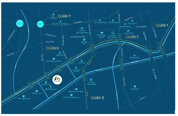 """Dự án D-Aqua sở hữu vị trí đắc địa tại """"trái tim"""" Quận 8, ngay khu vực liền kề Quận 1 với thời gian di chuyển vẻn vẹn 8 phút."""
