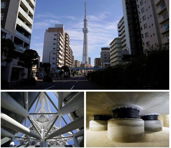 Tokyo Skytree được thiết kế để gió mạnh đi qua các khe hở giữa các giàn. Ở chân đế của nó, bộ giảm chấn cao su được sử dụng để giảm chuyển động. Ảnh: Bloomberg.