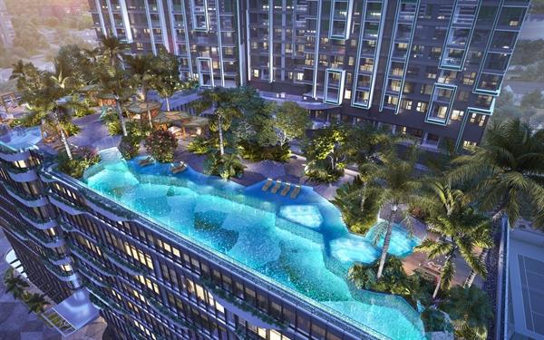 LUMIÈRE riverside và bể bơi vô cực nhìn từ trên cao.