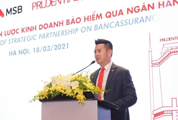 Ông Phương Tiến Minh, CEO Prudential chia sẻ định hướng tăng trưởng bền vững thông qua việc tăng chất lượng bán hàng tại lễ ký kết hợp tác độc quyền với Ngân hàng MSB