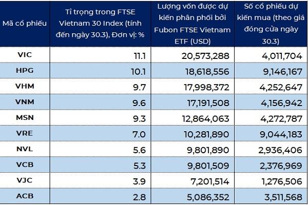 Dự báo dòng vốn được phân bối bởi Fubon FTSE Vietnam ETF vào các mã cổ phiếu được niêm yết trên thị trường chứng khoán Việt Nam. Nguồn: BVSC, NCĐT.