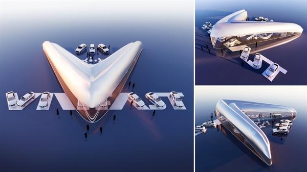 Toàn cảnh không gian showroom VinFast trong tác phẩm đạt giải nhất của nhà thiết kế Vicky Daroca (Mỹ).