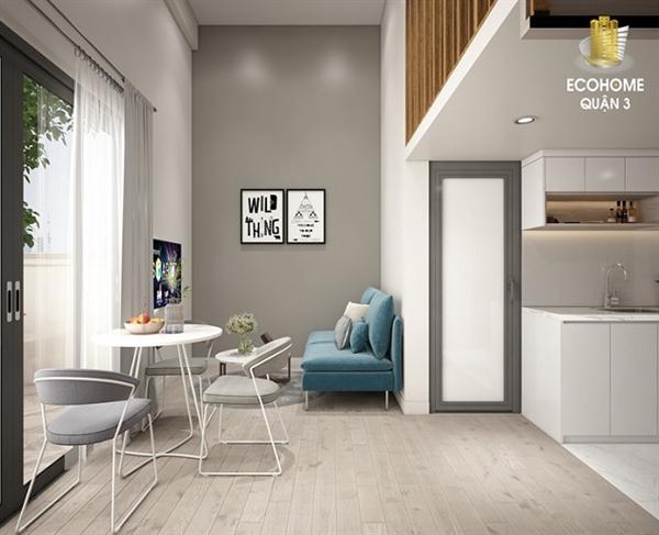 Ảnh căn hộ mẫu Ecohome Quận 3: Căn hộ với những tiện nghi đáp ứng đủ hầu hết nhu cầu cơ bản của người trẻ hiện nay.